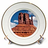 3dRose DanielaPhotography - Landscape, Nature - East Mitten Butte in Monument Valley, Navajo Tribal Park, Utah, USA - 8 inch Porcelain Plate (cp_282009_1)