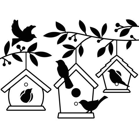 DARICE 1219-402 Embossing Folder Birdhouses in Trees Pape...