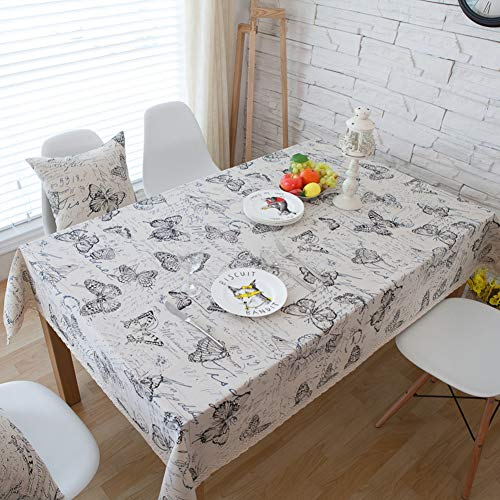 Zrtfren- Cotton Linen Tablecloth, Thickened with Butterfly Tablecloth - Garden Kitchen Coffee Table Waterproof, Dustproof And Oilproof Tablecloth Table Decoration (Size : 140x250cm) ()