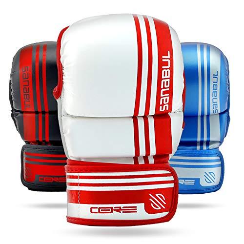 Sanabul Core 7 oz Hybrid Gloves (White/RED, L/XL)