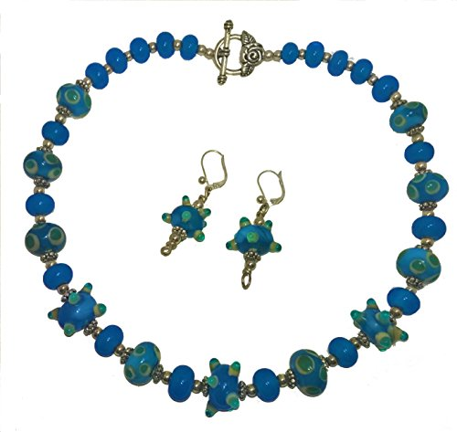 - Blue Ivory Handmade Lampwork Bead Necklace, Earrings and Bracelet