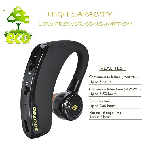 bluetooth headset arotao bluetooth earphone wireless earpiece hands free earbud with microphone. Black Bedroom Furniture Sets. Home Design Ideas