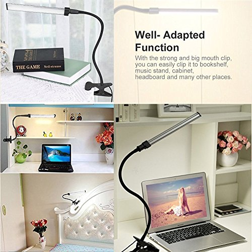 LED Clip Lamp, Portable Lighting Eye-Care Clip Desk Light Powered by USB ( Clip-On Light )-Black Color by Swiftrans (Image #4)