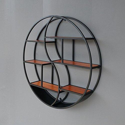 棚コンチネンタルリビングルーム創造性木製の壁飾りディスプレイスタンド壁掛け鉄アート円形棚ホームカフェウォールマウント B07RHG61KS