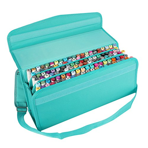 Caliart Marker Case Lipstick Case 120 Slots Marker Bag Holder Organization with Carrying Handle and Baldric for Prismacolor Marker and Copic Marker, Permanent Marker,Highlighter (green)