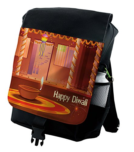 Lunarable Diwali Backpack, Traditional House Interior, Durable All-Purpose Bag by Lunarable