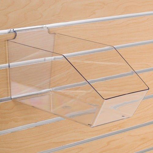 Retails Clear Plastic Slatwall Bins 6 in. W x 11 1/2 in. D x 5 1/2 in. H