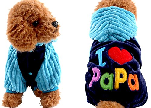 Halloween Costumes Wholesale Suppliers (Dora Bridal Pet Costumes Dog Clothes Jumpsuits I Love Mama I Love Papa Winter Warm Caroset One-piece Hooded Jacket Apparel Hoodie Coats for Small Puppy Medium Large Dogs)