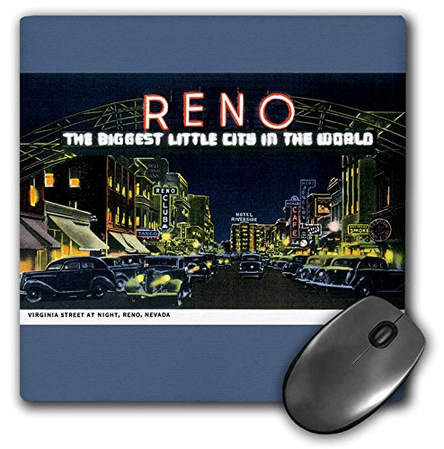 3dRose BLN Vintage US Cities and States Postcards - Reno The Biggest Little City in the World Night Scene Reno, Nevada - MousePad (mp_170284_1) (Reno The Biggest Little City In The World)