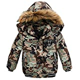 Goodkids Toddler Boys Down Jacket Winter Jacket Hooded Thickened Warm Snowsuit Coat Parka Outerwear (5T/Tag 120, Camouflage)