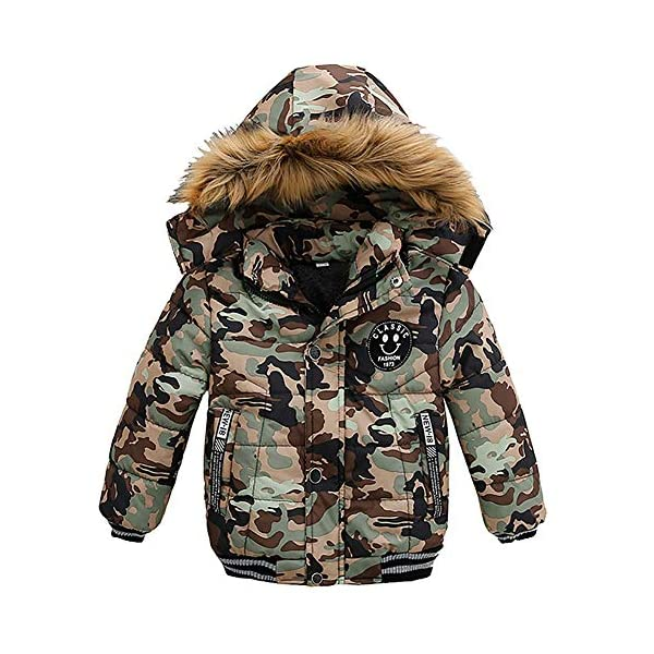 Kerrian Online Fashions 51tEuNE1jiL AMIYAN Toddler Boys Down Jacket Winter Jacket Hooded Thickened Warm Snowsuit Coat Parka Outerwear
