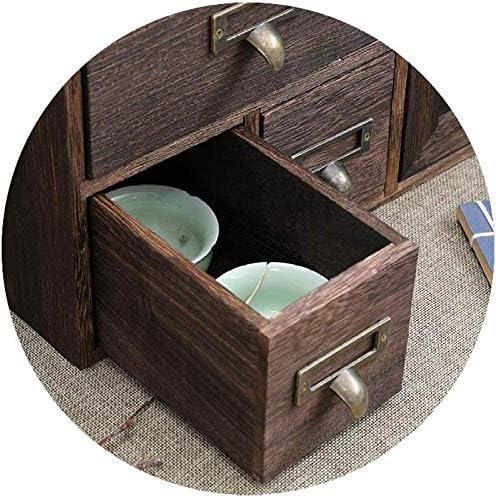 YYANG Eintürige Desktop Organizer Caddy Aufbewahrungsbox Mit 3 Schubladen Rustikalem Holz 3 Organizer Document Organizer,A