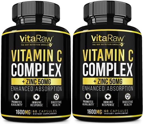 Vitamin C Supplement [2 Pack] 1600mg with Zinc 50mg |Highest Absorption| Vitamin C Immune Support Complex – Vitamin C Capsules & Zinc Vitamins for Adults | VIT C Immune Booster