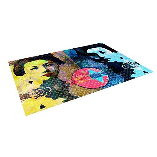 KESS InHouse Suzanne Carter ''Kimono Girl'' Yellow Blue Outdoor Floor Mat, 4' x 5'