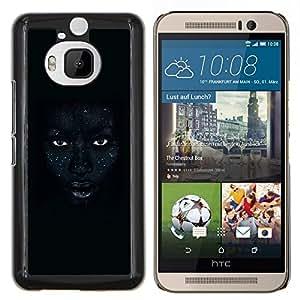 Labios africanos Mujer Noche Ojos- Metal de aluminio y de plástico duro Caja del teléfono - Negro - HTC One M9+ / M9 Plus (Not M9)