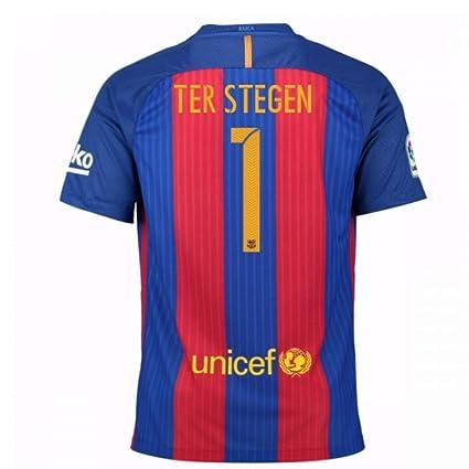bf38ecb28f5 Amazon.com : 2016-17 Barcelona Sponsored Home Football Soccer T-Shirt Jersey  (Marc-Andre TER Stegen 1) - Kids : Sports & Outdoors