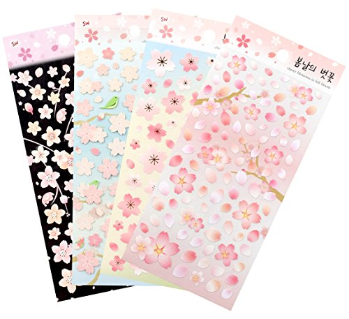 (Cherry Blossoms in full Bloom / Sakura Sticker Sheets (4 pack) Diary Decoration Sticker Scrapbooking Craft Sticker)