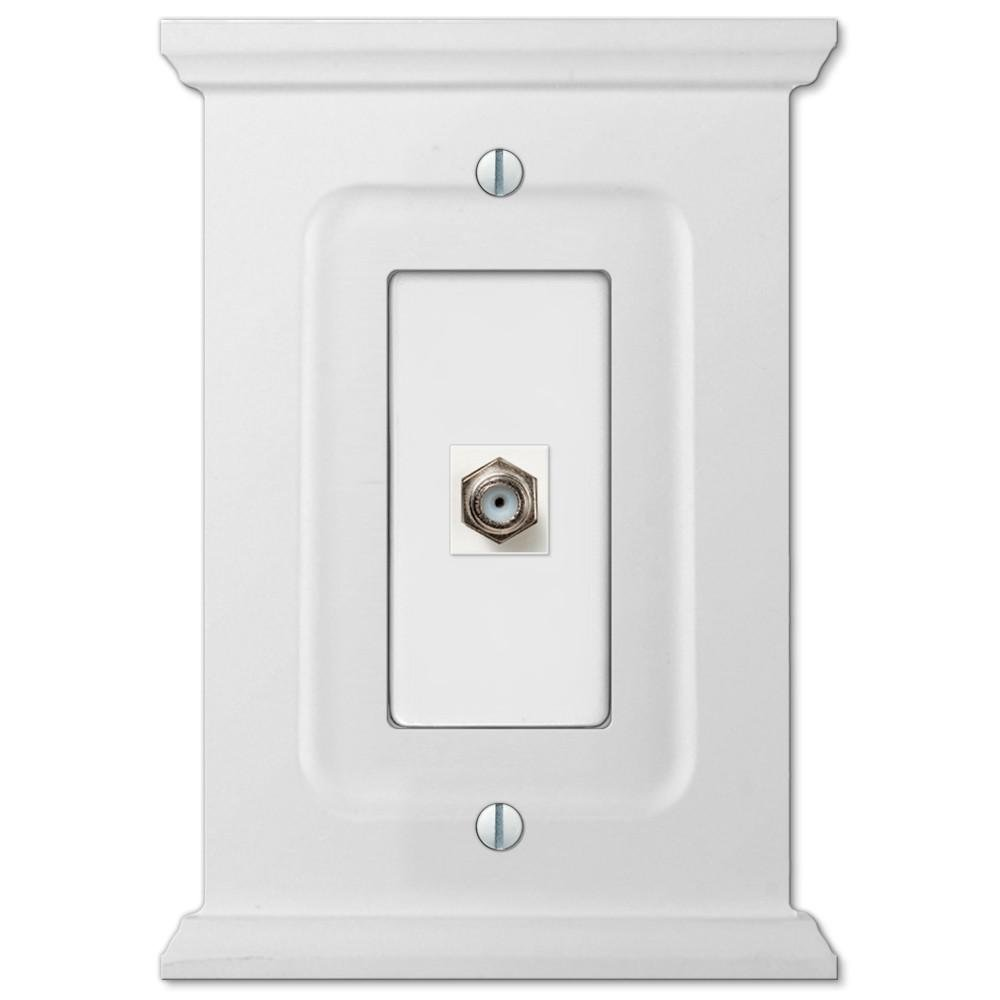 Mantel White Wood 1 Cable Jack Wallplate