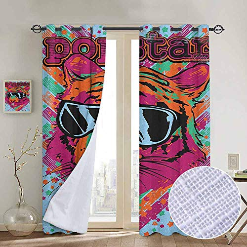 Stars Design Hand Painted Goblet - NUOMANAN Living Room Curtains Popstar Party,Popstar Poster Design Artistic Lion Painted with Sunglasses Dots and Stars, Multicolor,Adjustable Tie Up Shade Rod Pocket Curtain 54