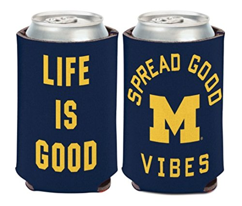 WinCraft NCAA Michigan Wolverines Life is Good 1 Pack 12 oz. 2-Sided Can Cooler