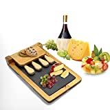 "Zen Kitchen Acacia Wood Cheese Board Set with Removable Slate Cheese Board, Comes with Full Cultery Set and Non-Slip Feet with Foldable Easy Storage Design,Great House Warming Gift, 12""x 8"""