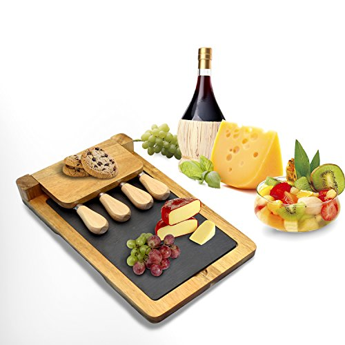 "Zen Kitchen Acacia Wood Cheese Board Set with Removable Slate Cheese Board, Comes with Full Cultery Set and Non-Slip Feet with Foldable Easy Storage Design,Great House Warming Gift, 12""x 8"" by Zen Kitchen"