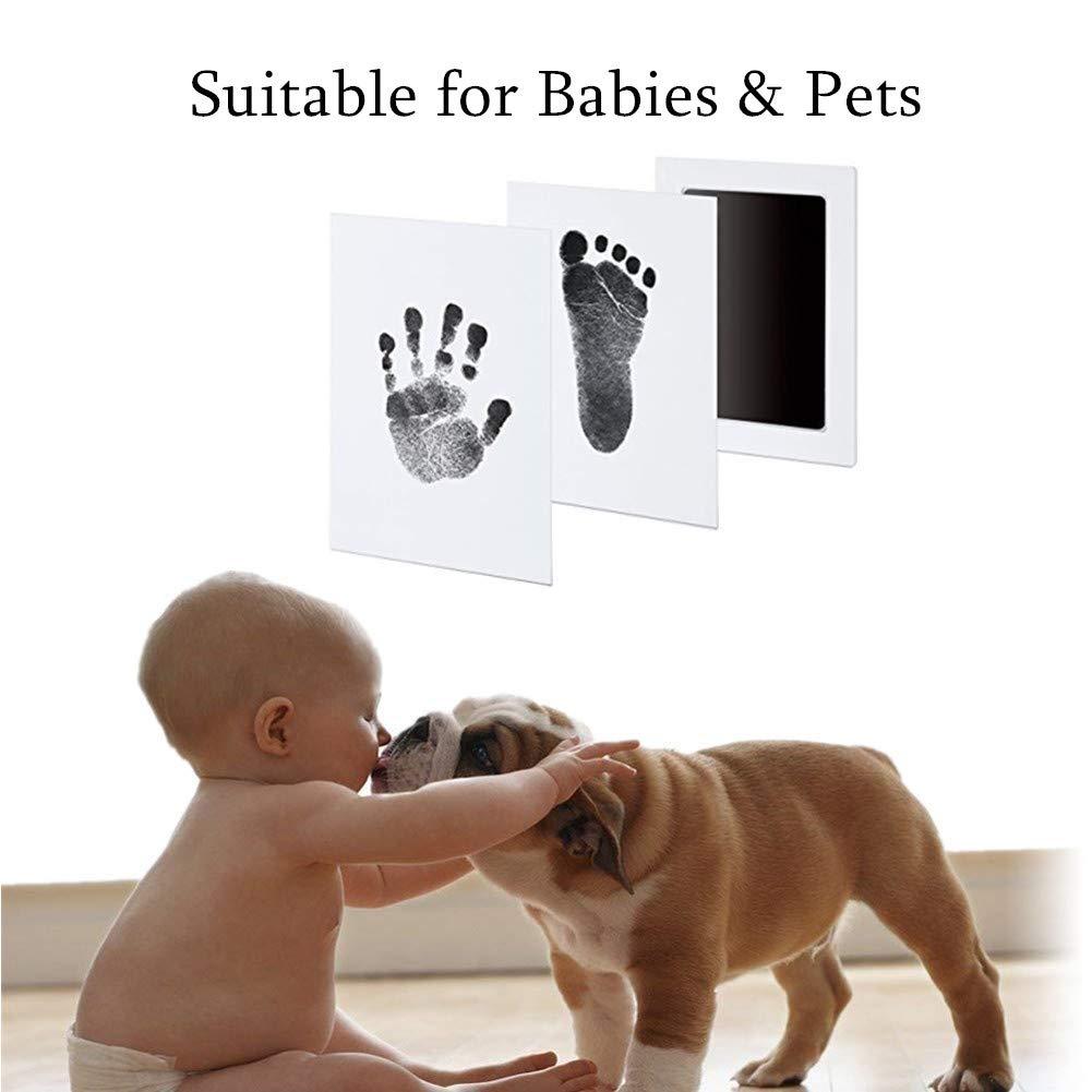 schwarz Babyhaut kommt nicht mit Farbe in Ber/ührung Baby Fu/ß- oder Hand-AbdrucksetCleanTouch Ink Pad Stempelkissen mit 2 hochwertigen Druckkarten Inkless