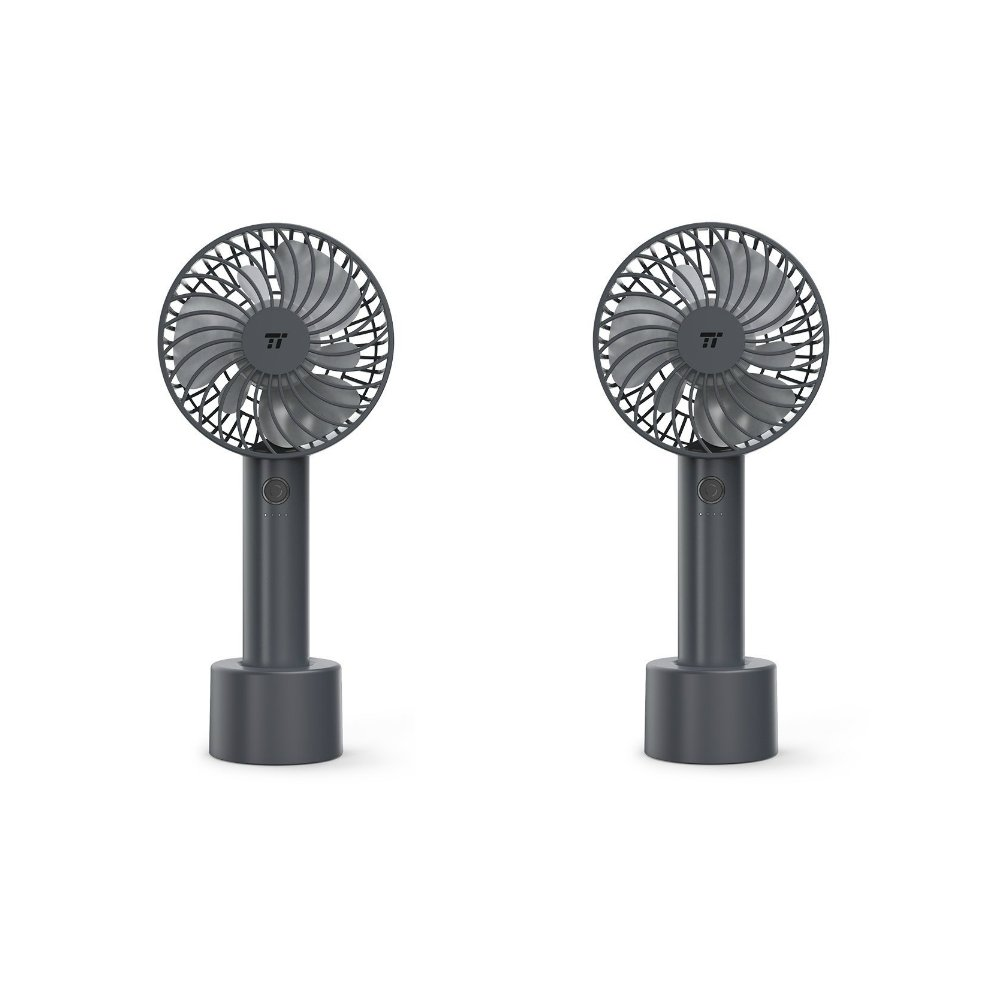 2 Pack TaoTronics Handheld Fan, Mini Personal Portable Fan with 2000mAh Rechargeable Battery, 4 Speed Settings and Memory Function for Home, Office & Travel Use (Gray)