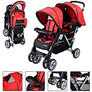 New For Baby Foldable Twin Baby Double Stroller Kids Jogger Travel Infant Pushchair Red- PUNER Store