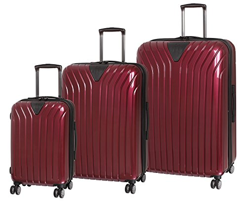 it luggage Excelsior 8 Wheel Single Expander ABS/PC 3 Piece Luggage Set (Wine Red/Black Trim) (Wine Set Duffle)