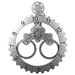 Sea Team 26 x 22 Large Sized Mechanical Style Gear Elements Quartz Movement Wall Clock Decorative Modern Steampunk Big Month/Date/Hour Wheel Clock (Silver)