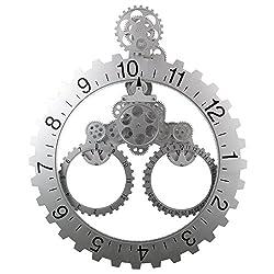 Sea Team 26 x 22 Large Sized Mechanical Style Gear Elements Quartz Movement Wall Clock Decorative Modern Steampunk Big Month/Date/Hour Wheel Clock (Silver)