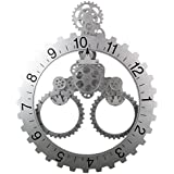 "Sea Team 26"" x 22"" Large Sized Mechanical Style Gear Elements Quartz Movement Wall Clock Decorative Modern Steampunk Big Month/Date/Hour Wheel Clock (Silver)"