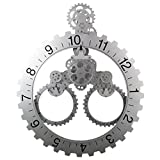 Sea Team 26'' x 22'' Large Sized Mechanical Style Gear Elements Quartz Movement Wall Clock Decorative Modern Steampunk Big Month/Date/Hour Wheel Clock (Silver)