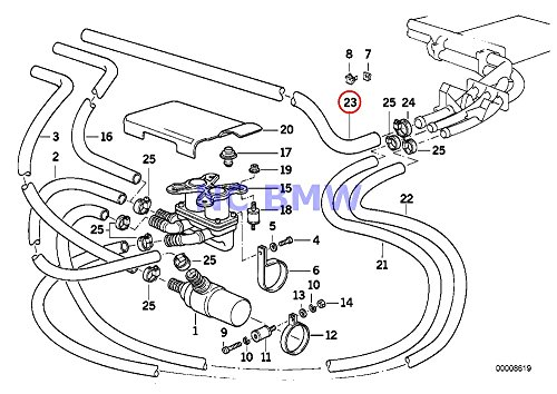 BMW OEM Water Hose - Expansion Tank to Thermostat Housing to Heater Core E32 E34 735i 735iL 535i M5 3.6