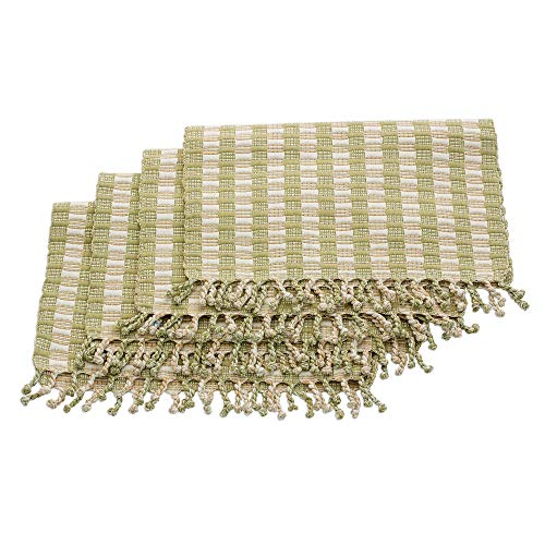 NOVICA Beige and Green Hand Woven Cotton Placemats, Woven Treasures' (Set of 4)