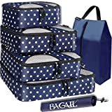 BAGAIL 6 Set Packing Cubes,Travel Luggage Packing Organizers with Laundry Bag(Navy dot)