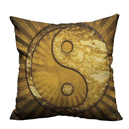 Super Top Pillow Metallic - Super Soft Pillowcase Metallic Effect Industrial Design Eastern Asian YingYang on top of Sunburst Resists Wrinkles(Double-Sided Printing) 27.5x27.5 inch