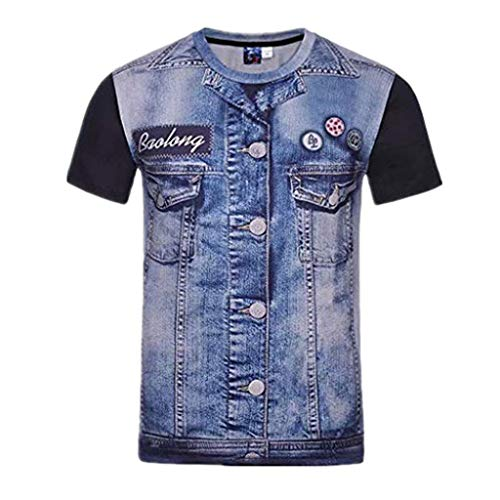 DEATU Casual Denim T-Shirts Short Sleeve for Men, Mens Summer Cool Shirts Blouse Round Neck(Blue,US-S/CN-M)