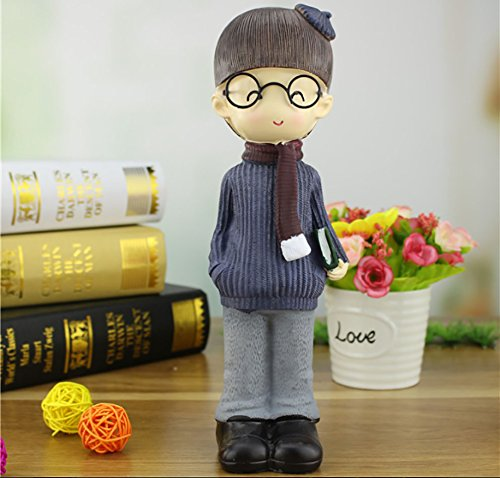 NEWNESS WORLD 1pc Creative Scarf Glasses Pattern Resin Ornament for Home Decoration/Office Decoration/Desk Decoration,best gift for couples/kids height 10inch (boy)