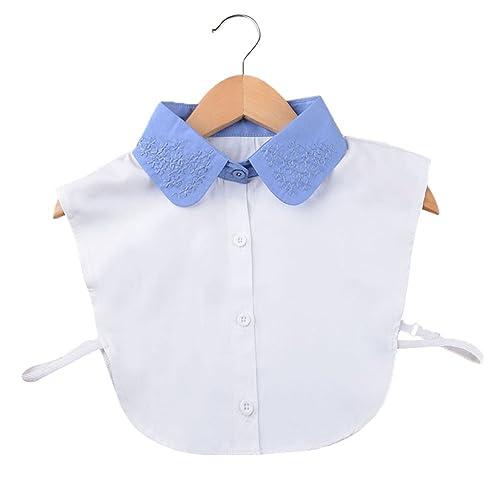 Vococal - Camiseta Mitad Falso de Algodón Surtido Color / Camisa Desmontable Lazo de Blusa Cuello Falso con Venda Banda Elástica Busto para Mujer