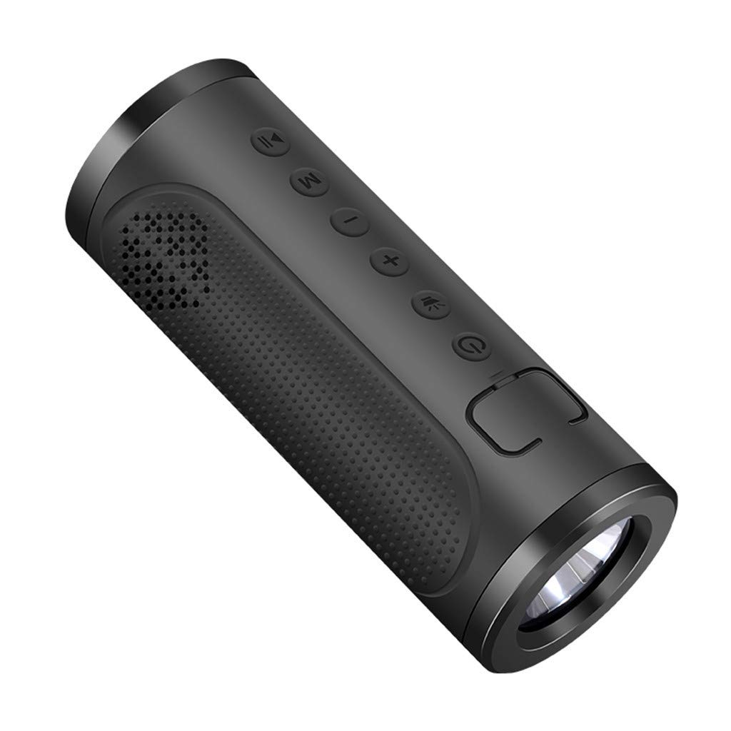 CZYCO Two in One Portable Wireless Bluetooth Speakers Noise Reduction Stereo Sound Waterproof Speakers With Flashlight(Black) by CZYCO