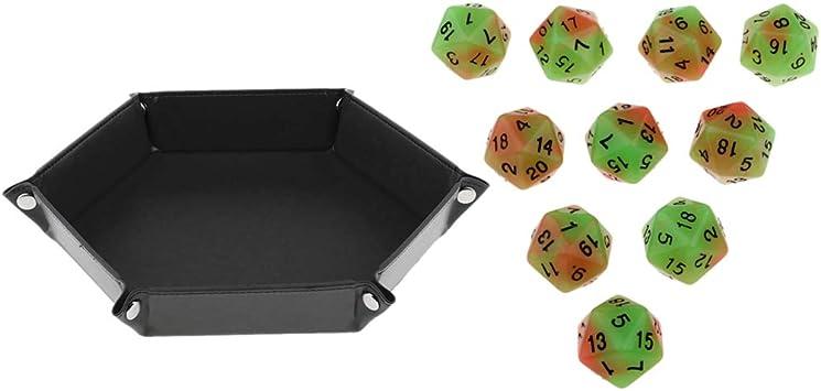 non-brand 10 Unids Dados Múltiples D20 con Bandeja de Dados Hexagonal para Accesorios de Juegos de Mesa: Amazon.es: Juguetes y juegos