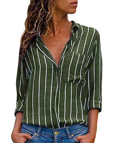 Up Femme Chemisier Chic Button Col V Chemise Vert Shirt Printemps Tops Mode Tunique Classique Longues Blouse Manches Ray B Minetom Automne Yqd5q