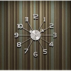 A.Cerco Analog Wall Clock – Silver Decorative Metal Silent Wall Clock – 19.1 Inch│Valentine's For Him/Her