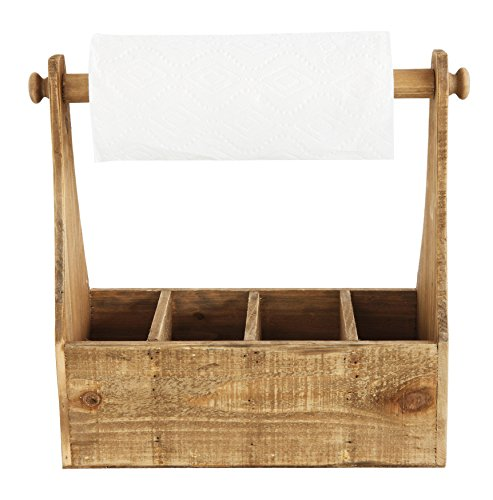 Creative Co-op Sectioned Wood Container and Paper Towel Holder (Container Towel Paper)
