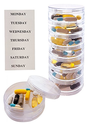 Stackable 7 Day Clear Pill Organizer with 2 Lids and a Set of Labels (Large with Extra Container)