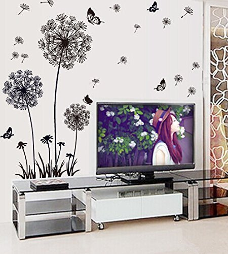 Giant Removable Wall Stickers (RRRLJL Beautiful Dandelion and Butterflies Wall Decal & Mural Home Decor Large Removable Wall Sticker for Living Room Bedroom)