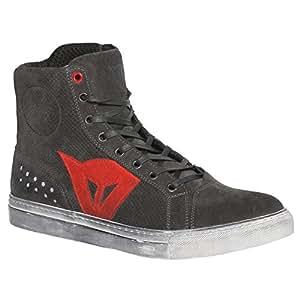 Dainese-STREET BIKER AIR Zapatos, Carbon-Dark/Rojo, Talla 44
