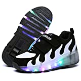 Uforme Kids Adults LED Shoes Light Up Wheels Roller Skates Flashing Fashion Sneakers for Unisex (3 M US=CN34, Black+White)